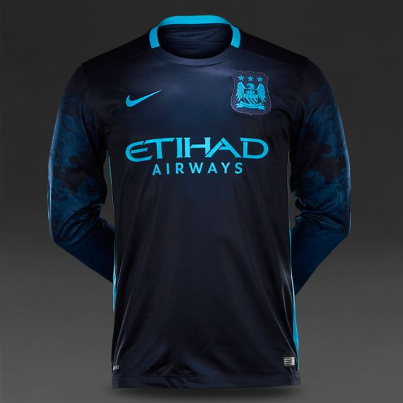 Nike Manchester City Long Sleeve Away Stadium Shirt - Dark Obsidian Blue  Force Chlorine Blue 048631506