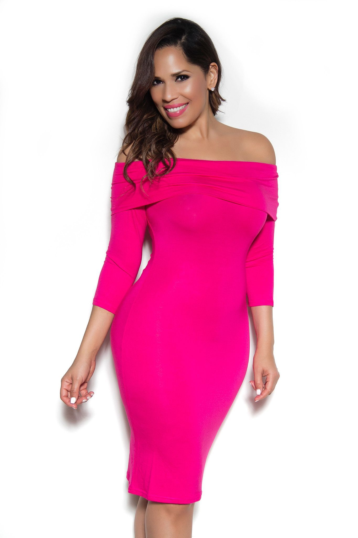 Hot Pink Off Shoulder Long Sleeve Bodycon Dress | Bodycon dress ...