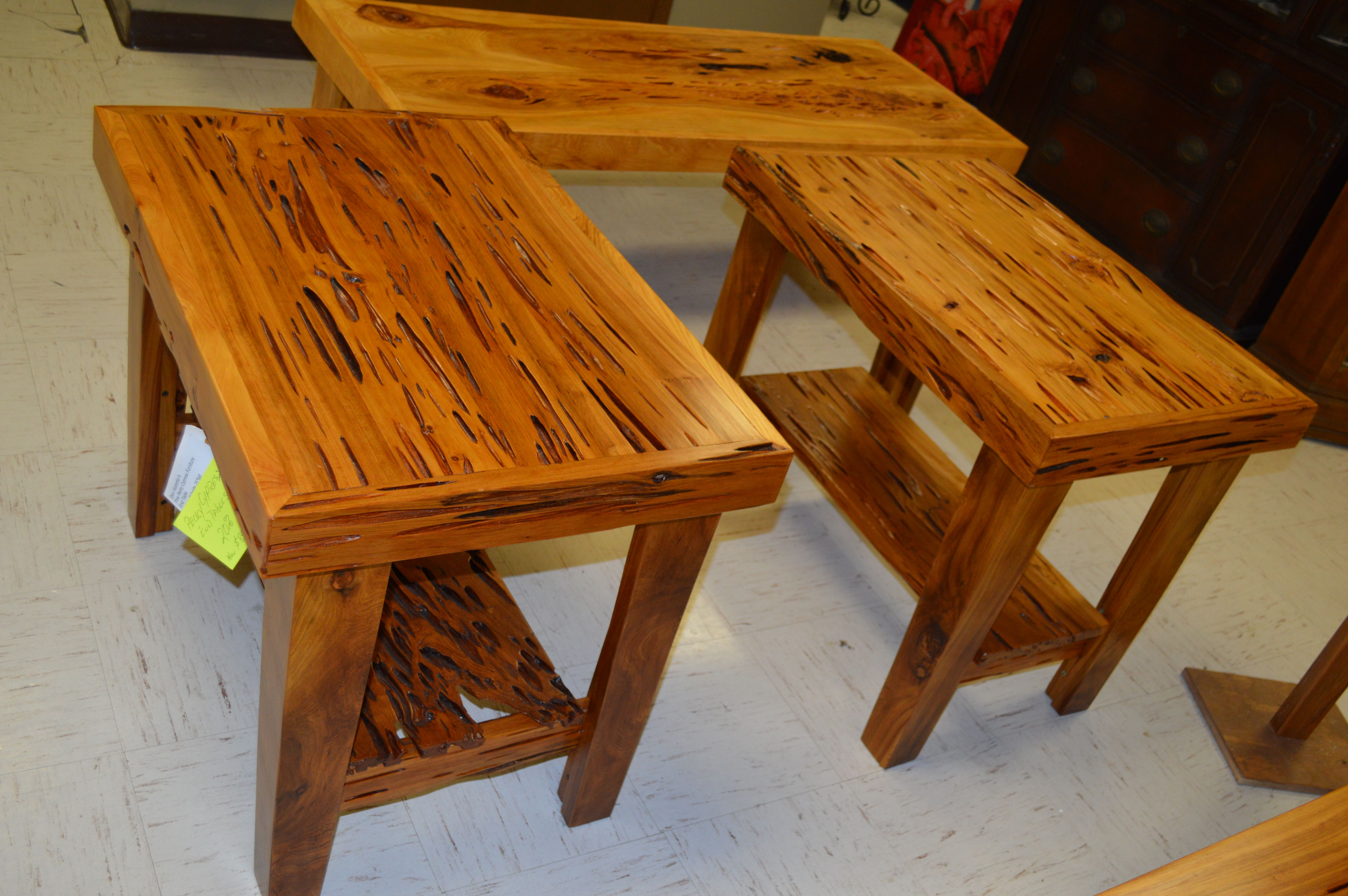 Pecky Cypress End Tables Built By Don Hostetler S Fine Cypress Furniture 985 237 0694 Furniture Table Pecky Cypress