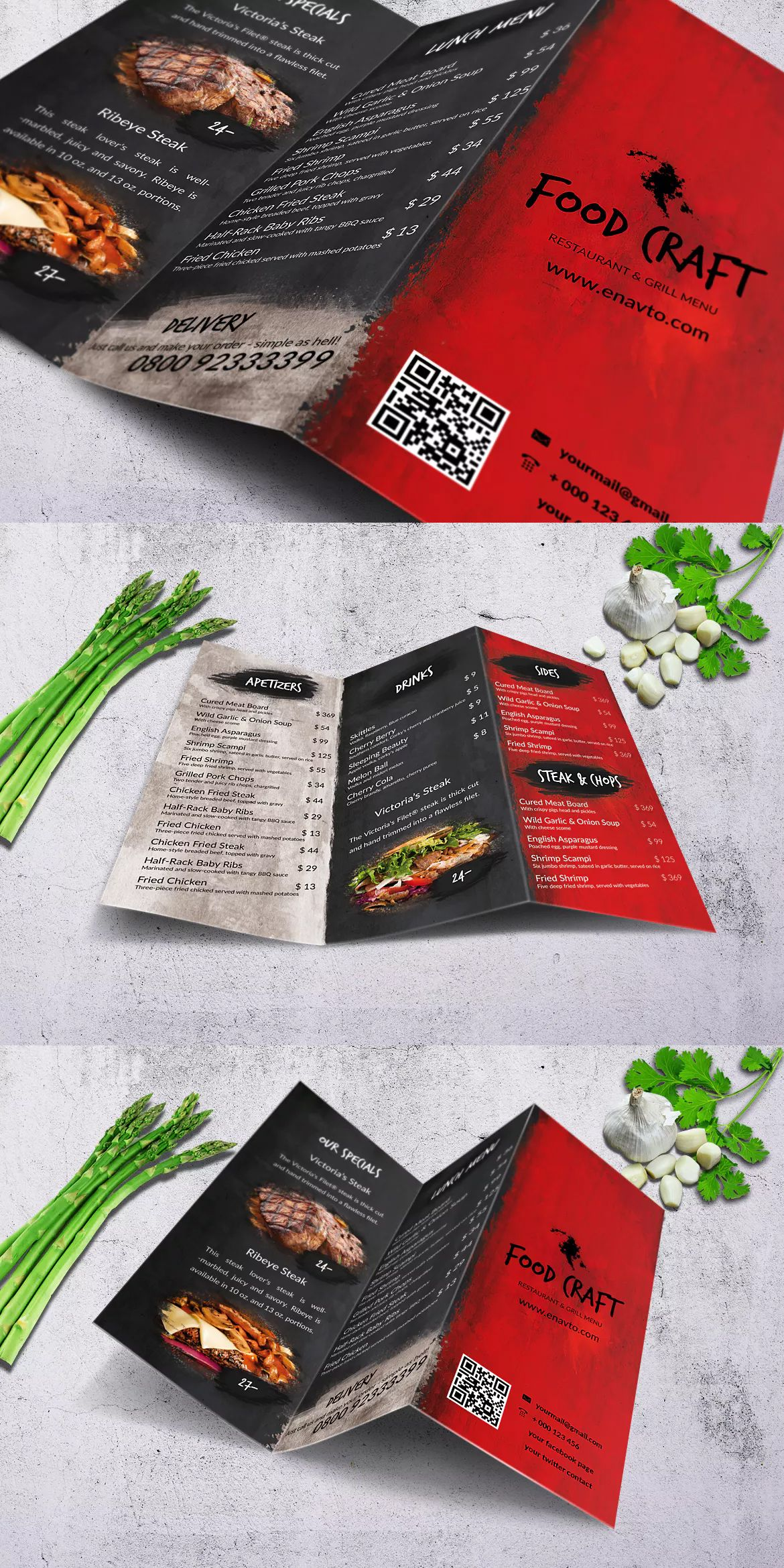 craft tri fold food menu template psd a4 and us letter size cmyk