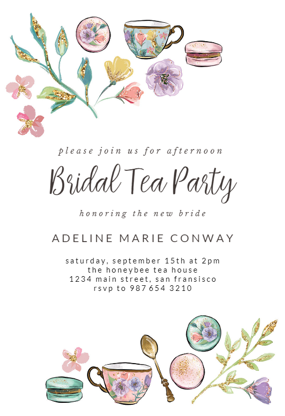 Tea Party Bridal Shower Invitation Template Free Greetings Island Bridal Shower Invitations Diy Tea Party Bridal Shower Invitations Tea Party Bridal Shower
