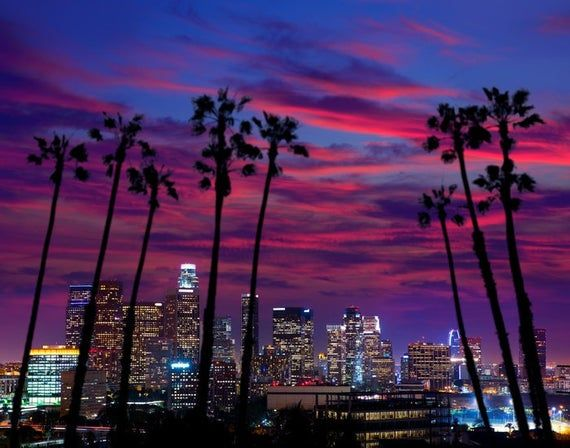 Los Angeles California Skyline Sunset Photography A 92162 Art Prints Wood Metal Sig In 2020 Los Angeles Sunset Los Angeles At Night Top Road Trip Destinations