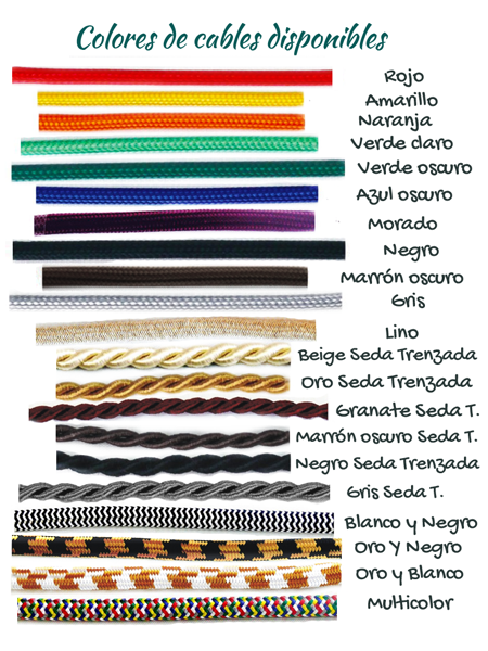 Cables textiles se colores para lamparas