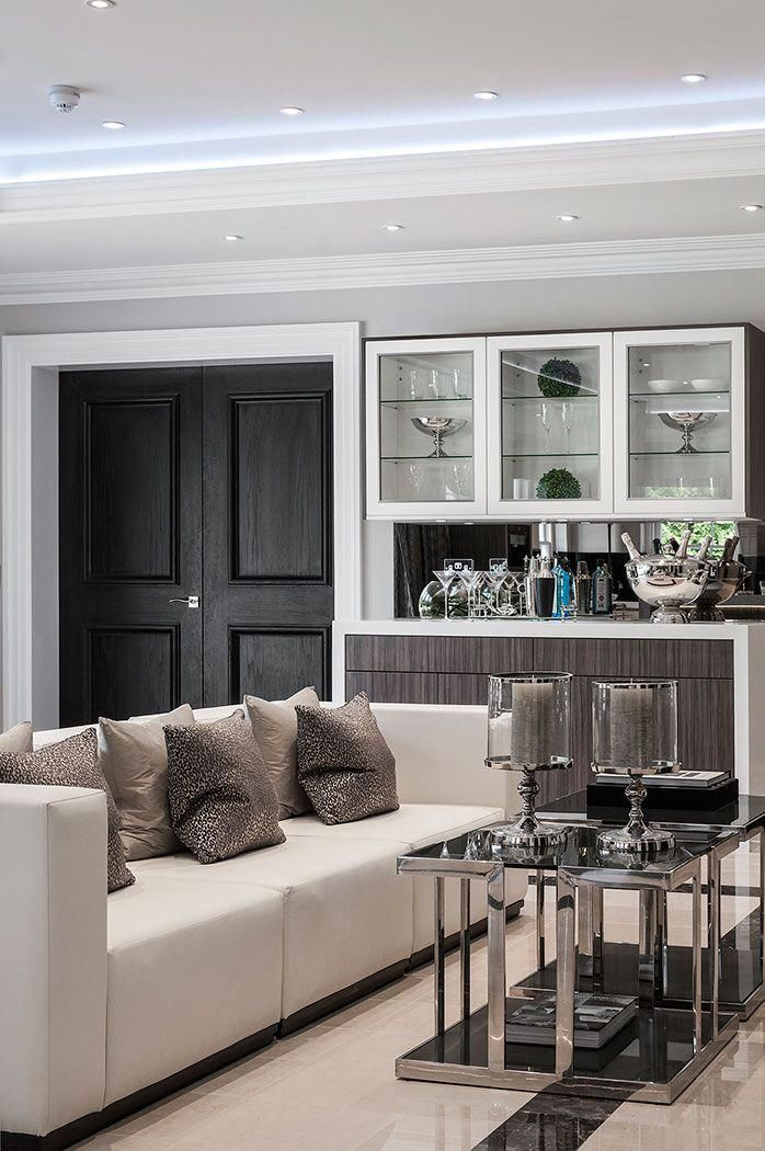 Contemporary seating area in the kitchen of luxurious