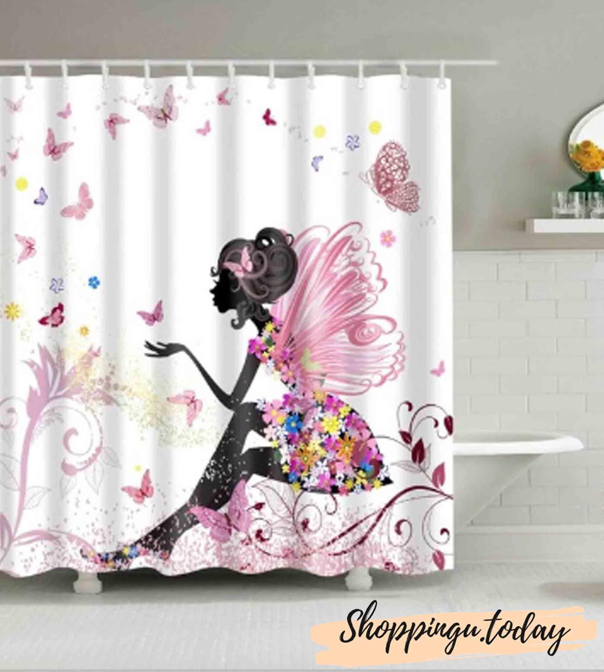 Angel Bathroom Shower Curtain Bs0120 In 2020 Girly Shower