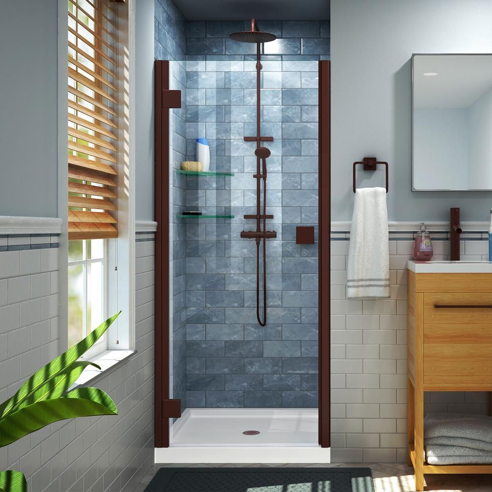 Dreamline Lumen 42 In X 72 In Semi Frameless Hinged Shower Door