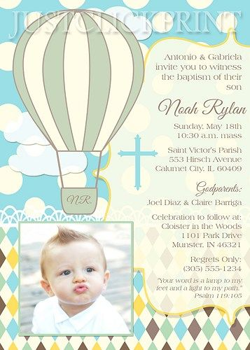 Boys Hot Air Balloon Baptism Christening Photo Invitation