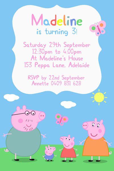 peppa pig birthday invitations peppa