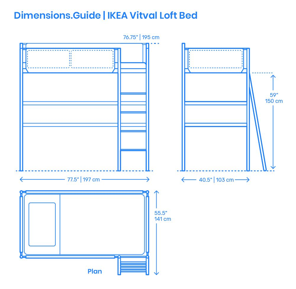 The Ikea Vitval Loft Bed Fits Into Several Decor Styles And Needs That You Can Dress With Different Accessories And Bedding It Re Loft Bed Bed Dimensions Ikea