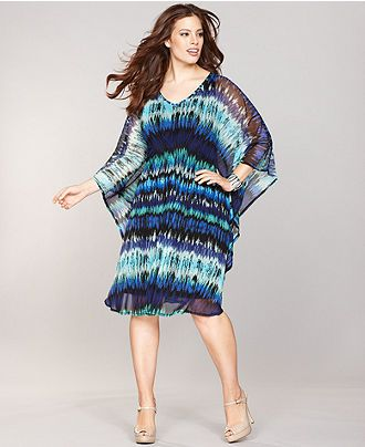 INC International Concepts Plus Size Dress, Kimono-Sleeve ...