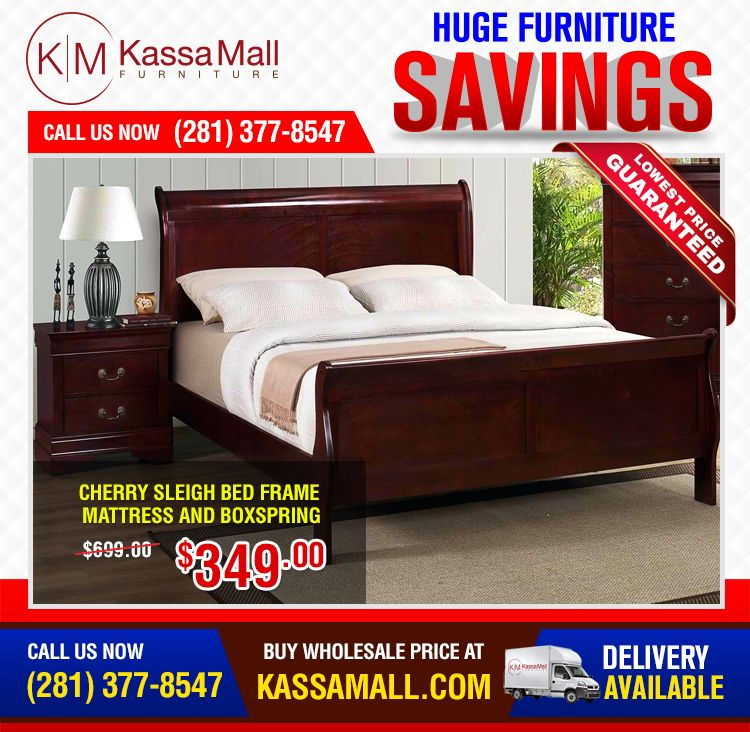 cherry sleigh bed frame mattress and boxspring cherry sleigh bed