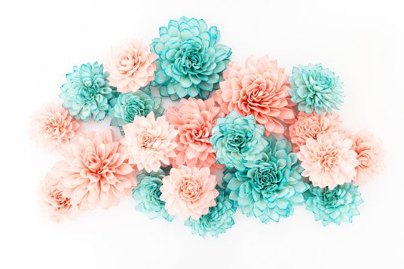 15 Coral and Teal Mixed Wooden Flowers Wedding by companyfortytwo