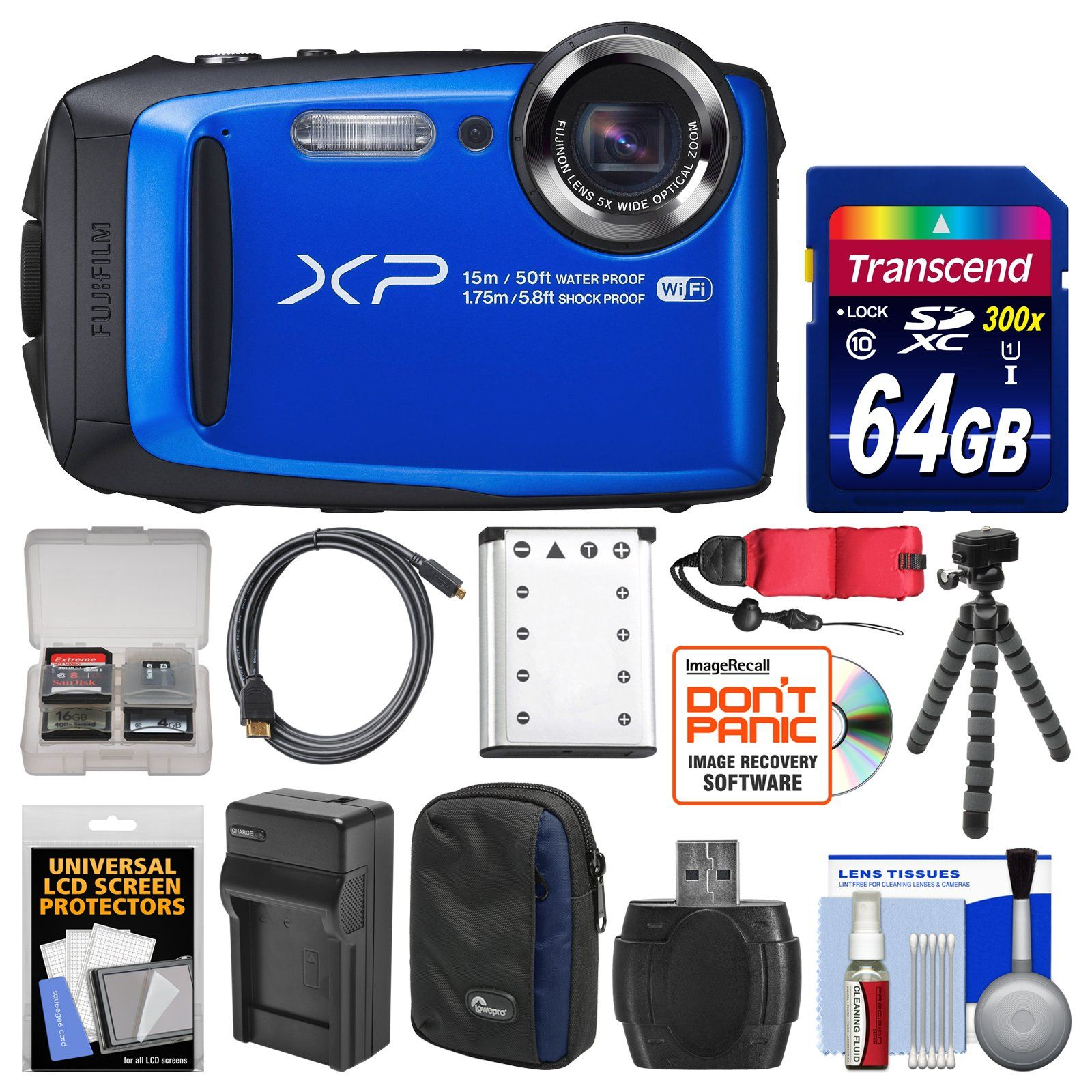 Fujifilm FinePix XP90 Shock & Waterproof Wi-Fi Digital Camera (Blue) with 64GB Card + Case + Battery & Charger + Flex Tripod + Strap + Kit. KIT INCLUDES 13 PRODUCTS -- All BRAND NEW Items with all Manufacturer-supplied Accessories + Full USA Warranties:. [1] Fujifilm FinePix XP90 Shock & Waterproof Wi-Fi Digital Camera (Blue) + [2] Transcend 64GB SDXC 300x Card + [3] Spare Rechargeable Battery +. [4] Battery Charger + [5] Lowepro Newport 10 Camera Case + [6] PD-T14 Flexible Camera Tripod…