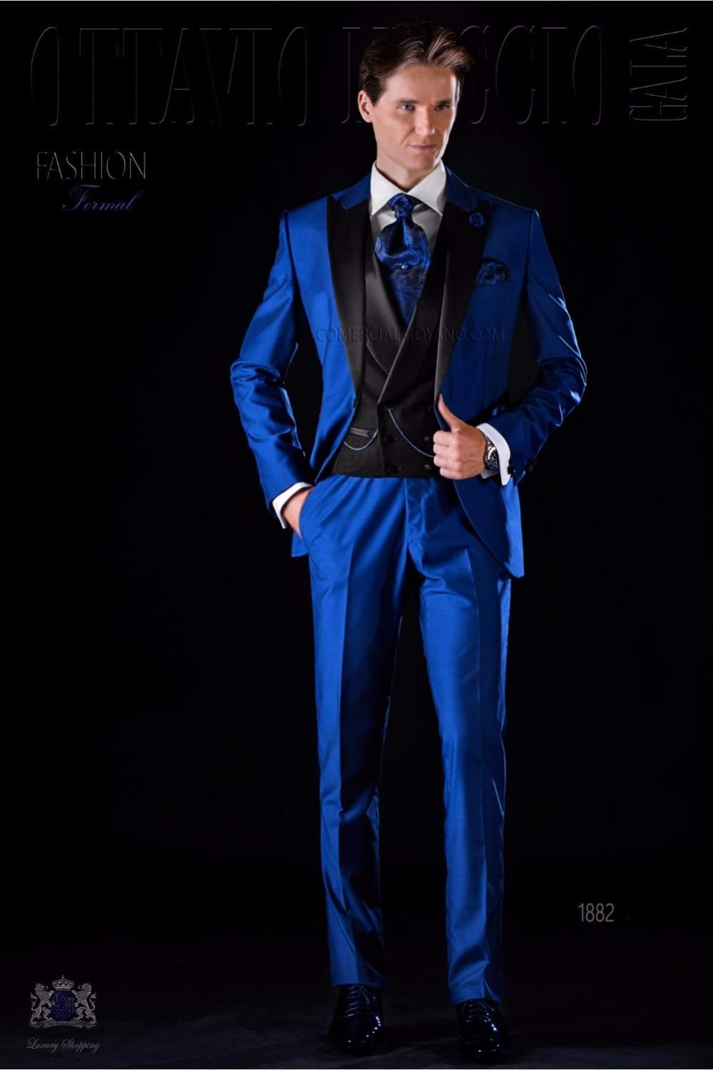 Latest Coat Pant Design Italian Royal Blue Black Satin Men Suit Slim ...