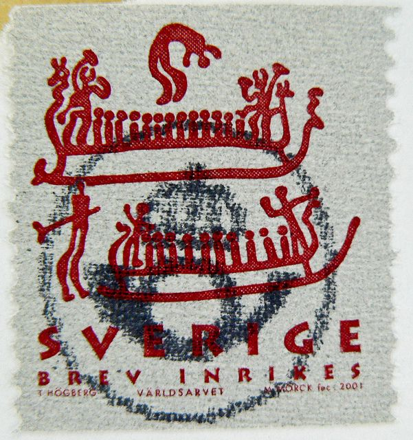Great stamp sverige sweden brev inrikes rock carvings