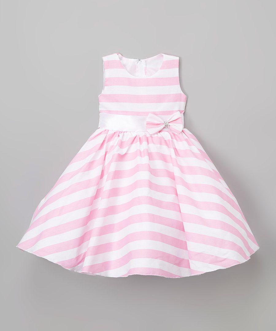 Look at this Kid Fashion White & Pink Stripe Sash A-Line Dress ...