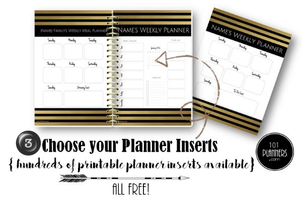 Choose the planner inserts that you want to include in your planner - food inventory template