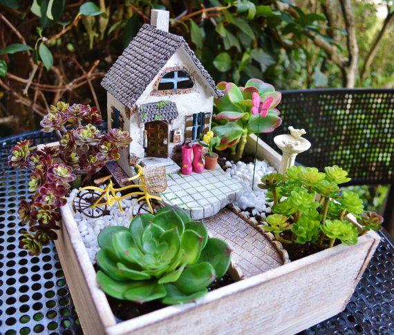 Beach Cottage Garden Kit ~ Miniature House ~ Wooden Planter ~ Herb ...