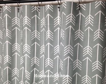 Fabric Shower Curtain Designer Arrow Cool Grey White Extra Long 72 X 84 74