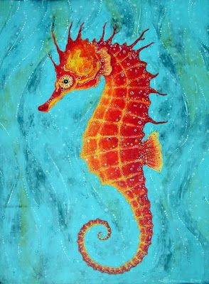 Imagine With A Colorful Background And A White Seahorse