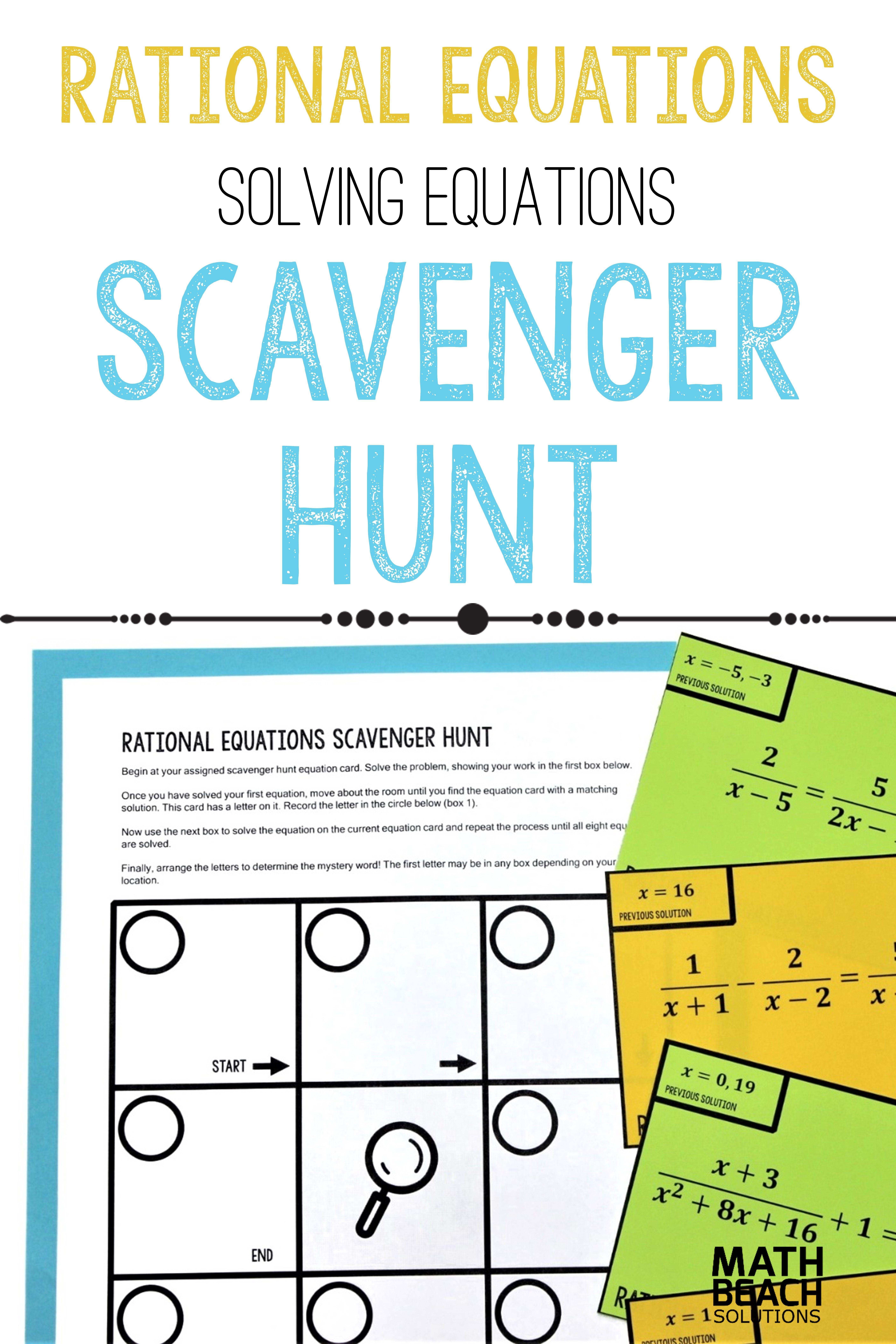 Solving Rational Equations Scavenger Hunt Activity Solving Equations Algebra Activities