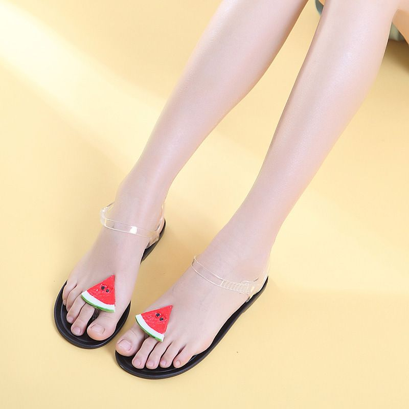 923d65f91a4c0c Women Fashion Crystal Jelly Sandals Clip Toe Flat Watermelon Plastic Beach Sandals  Shoes Transparent Fruit Jelly Slippers Shoes