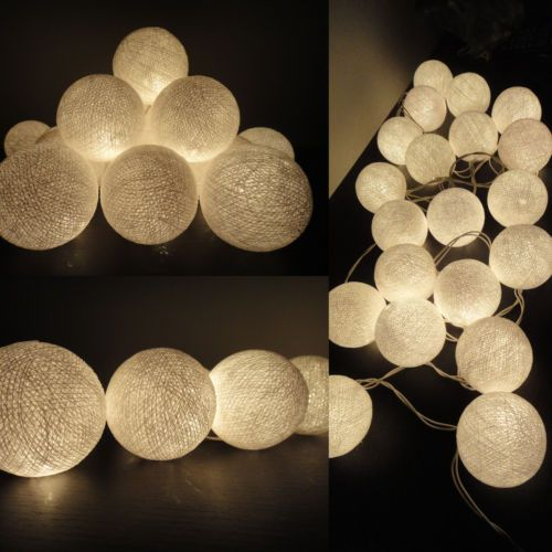 Details about 20 cotton ball string lights fairy hanging - How to hang string lights on wall ...