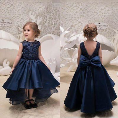 Navy Blue Flower Girl Dress Hi-lo Princess Sleeveless Kid Gown Size 2-14    eBay -   19 dress Flower Girl blue ideas