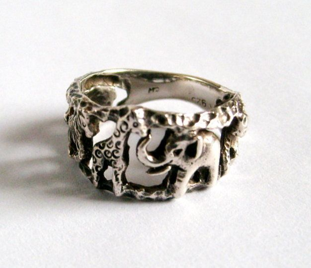 Sterling Silver Zoo Jungle Animals RIng. $25.00, via Etsy