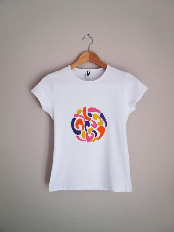 T-shirt with abstract motifs-60's pattern-minimalist tshirt-hand painted tshirt-embroidered tshirt-w