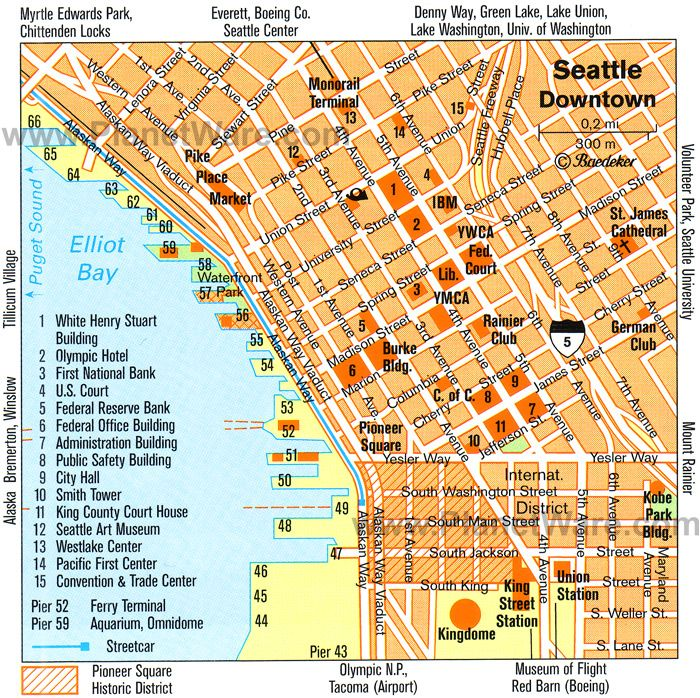 Seattle Map Tourist Attractions Trips Pinterest Seattle map