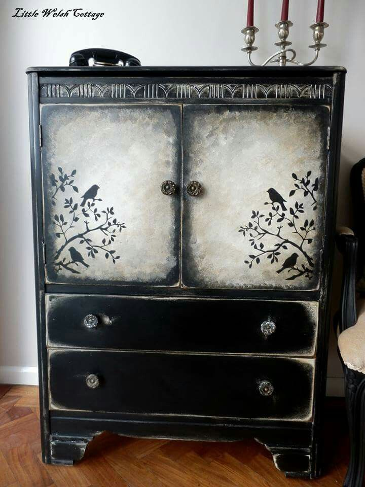 Cupboard Sideboard Vintage Shabby Chic Black Tallboy Cabinet Bedroom Doors Paint Furniture
