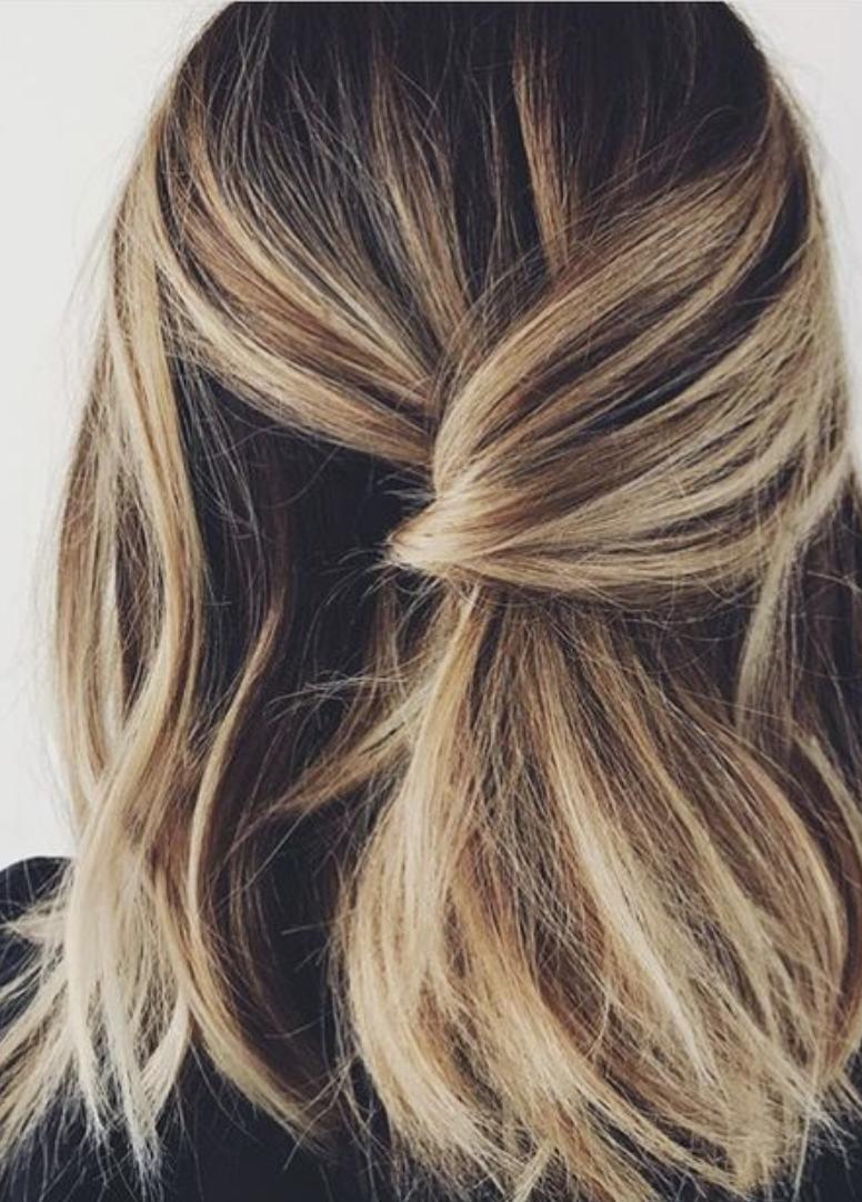 Twist Back Bobby Pin Half Ponytail Brunette Blonde Balayage Hair Honey Balayage Short Hai Hair Styles Balayage Hair Brunette With Blonde Long Hair Styles