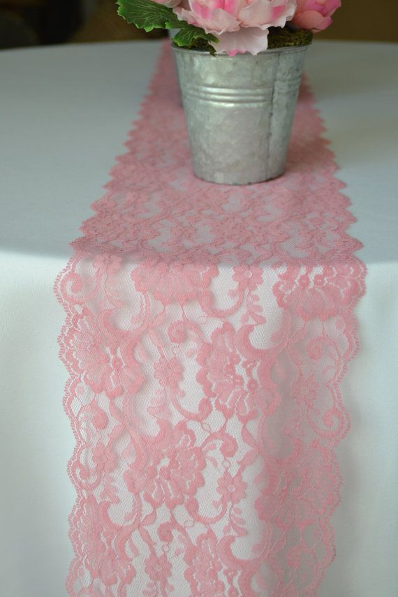 "10 Yard Roll Pink Rose Lace 7"" Wide Lace Trim / Perfect for Table Runners…"