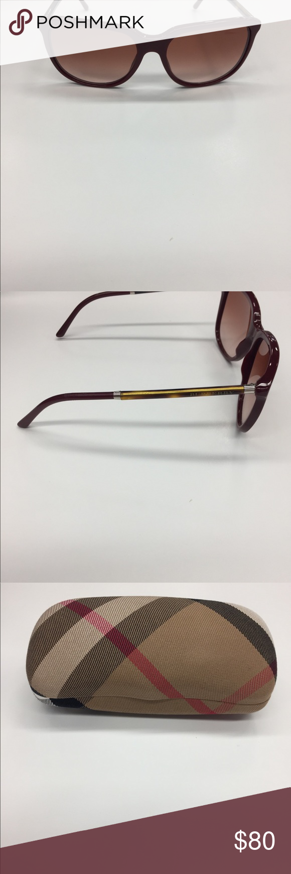 4ed669710b1 Burberry sunglasses Red frame brown lens new with case Burberry Accessories  Glasses