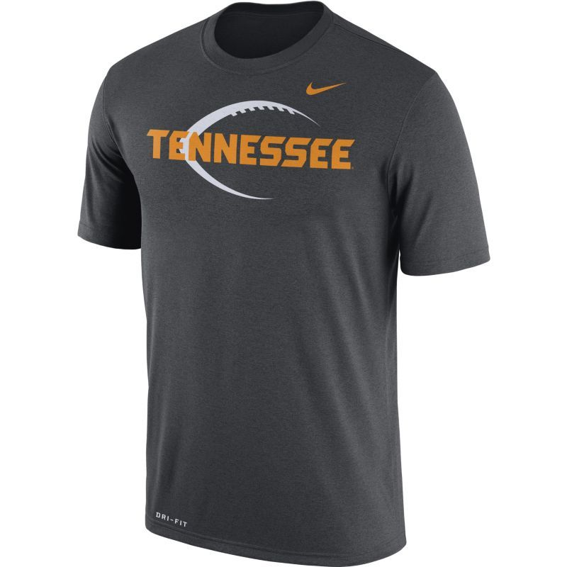 Nike Men's Tennessee Volunteers Anthracite Football Icon Legend T-Shirt,  Size: Medium,