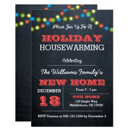 Chalkboard lights holiday housewarming invitation also chalkboards and rh pinterest