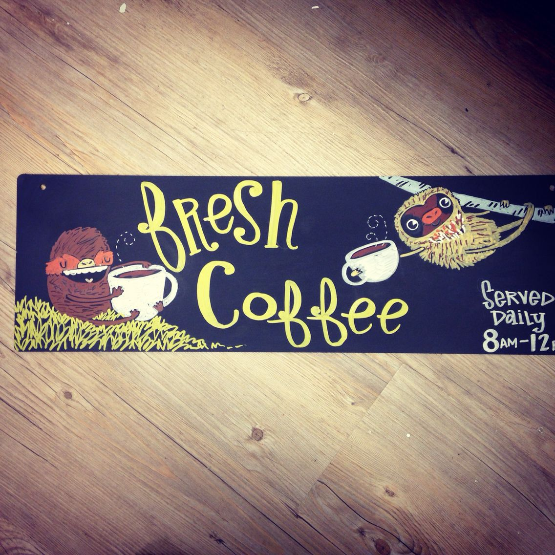 Sloth illustration. Sloths love coffee. Cute!