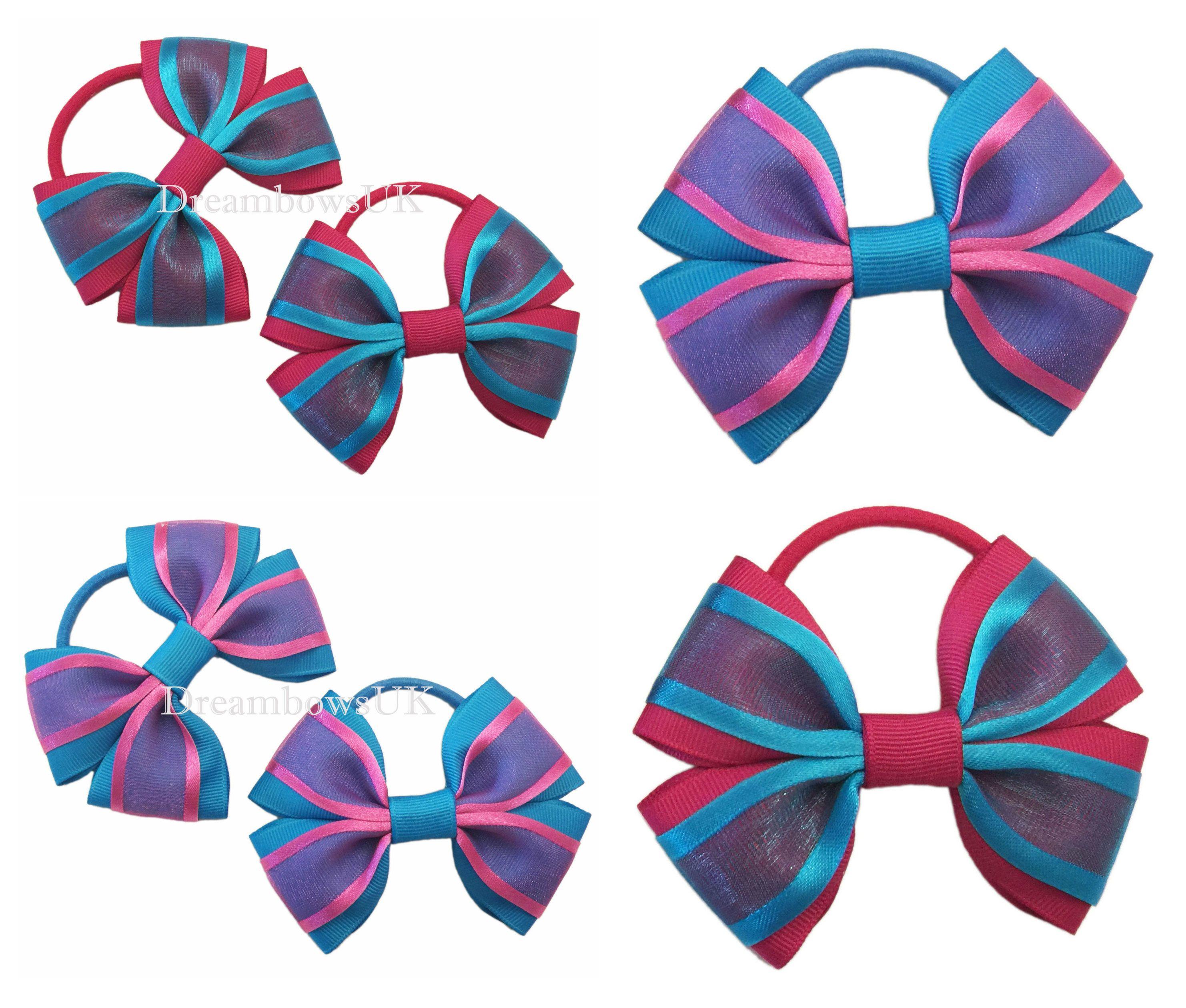 bow thick hair bobbles//elastics hair ties Lilac organza hair bows//accessories