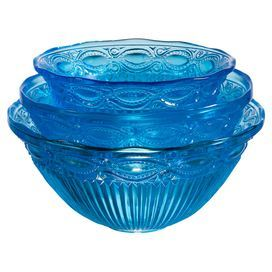 """Set of 3 glass nesting bowls with ribbed detailing and scalloped rims.   Product: Small, medium and large mixing bowlConstruction Material: GlassColor: BlueDimensions: 8"""" H x 10.5"""" Diameter (large)Cleaning and Care: Dishwasher safe"""