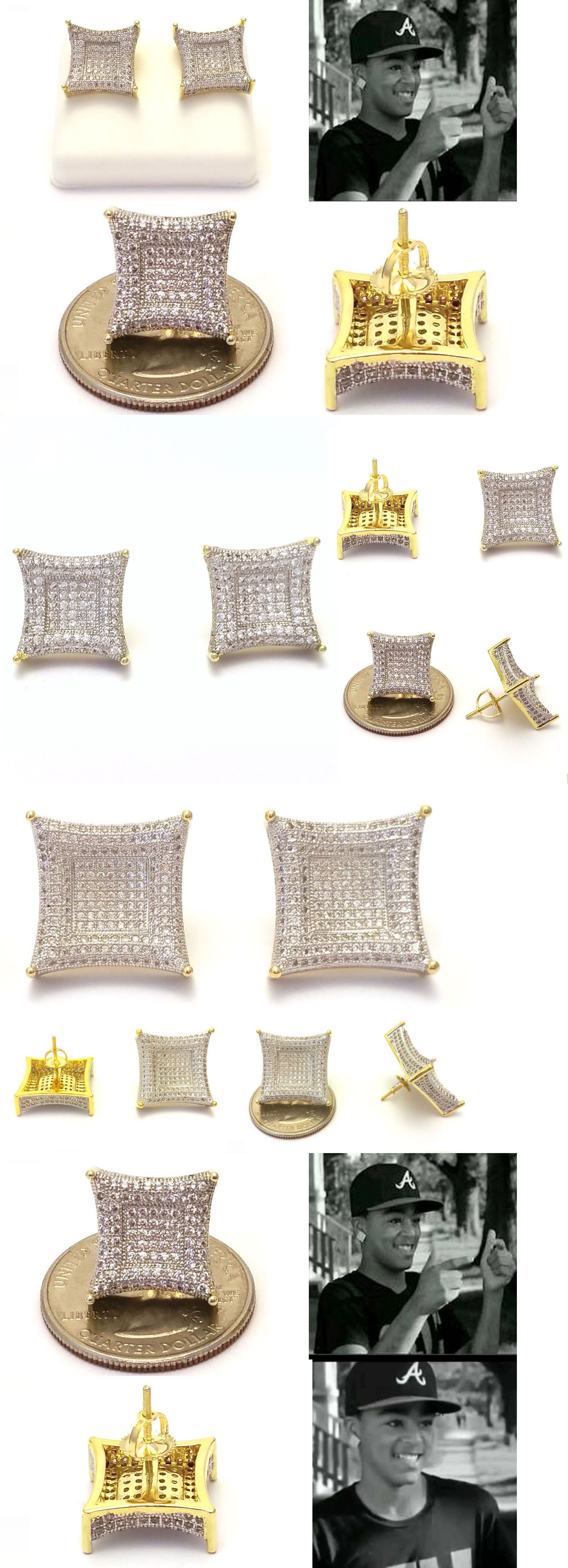 Earrings Studs 14085 Lil Jojo Iced Out 18k Yellow Gold Finish Lab