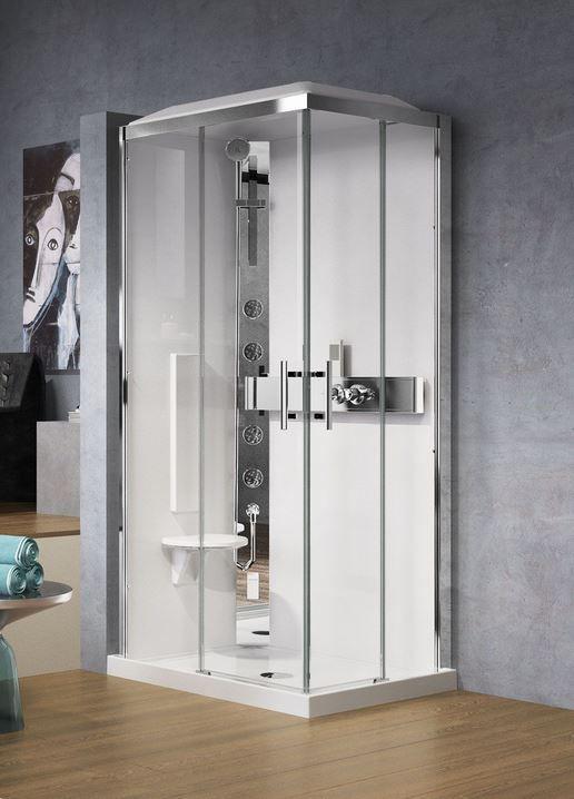 cabine de douche rectangulaire acc s d 39 angle par deux panneaux coulissants ainsi que deux. Black Bedroom Furniture Sets. Home Design Ideas