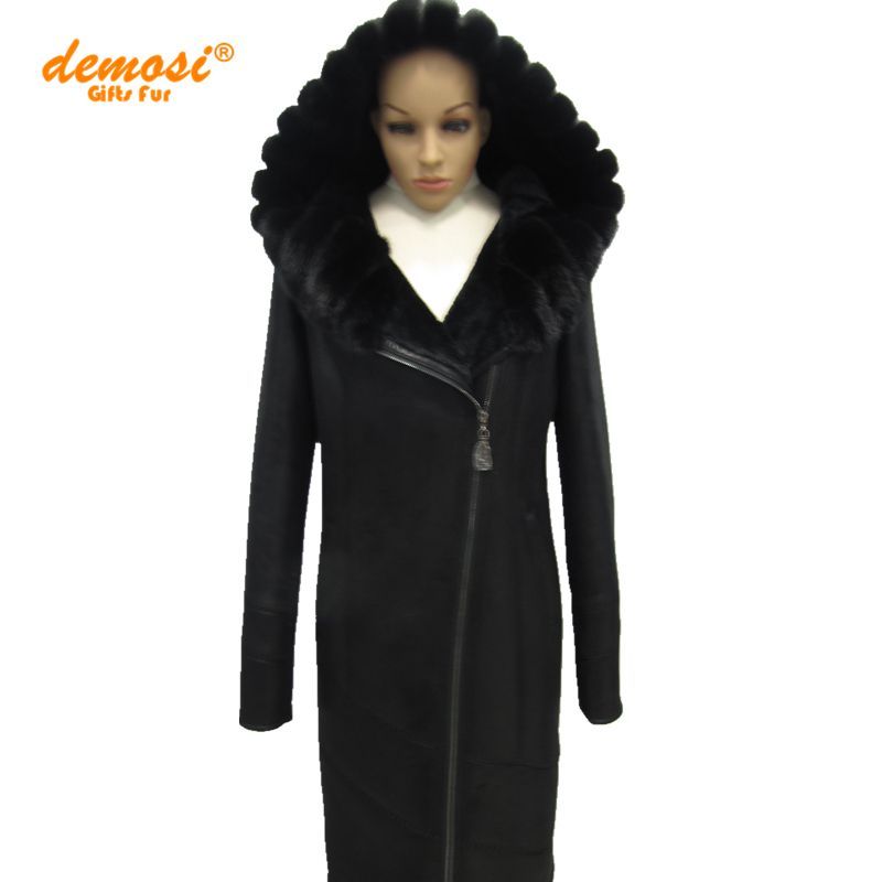 65313854a4b Factory wholesale 100% natural leather mink fur collar 2017 new fashion Slim  Faux women sheepskin coats thick winter Middle-aged