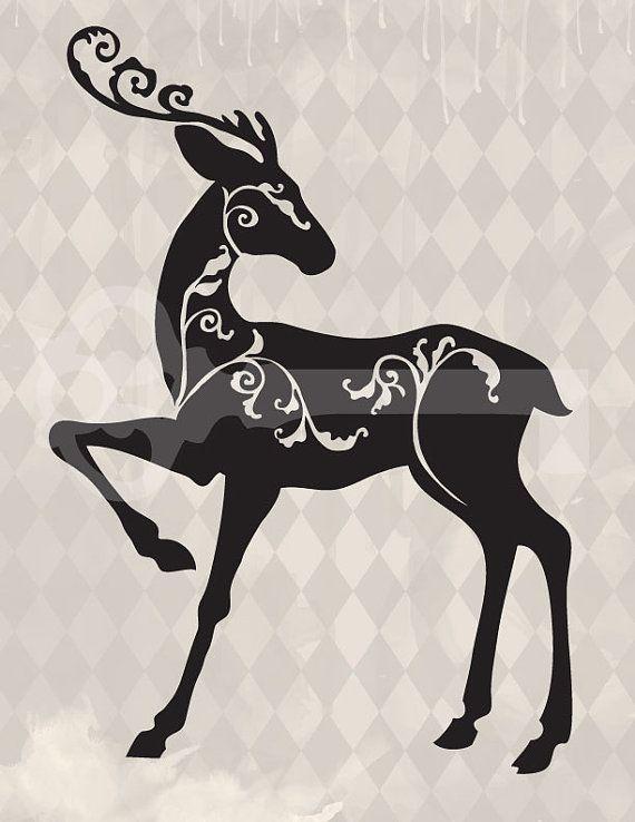 filigree reindeer Christmas silhouette original by TanglesGraphics ...