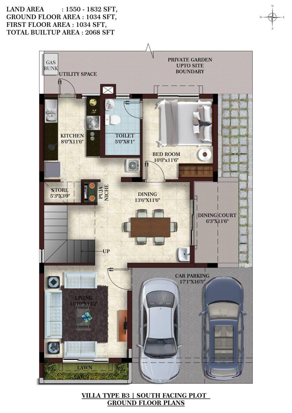 Duplex house plans 500 sq ft