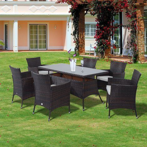 Outsunny Rattan Garden Furniture Dining Set Rectangular Table 6 Cube ...