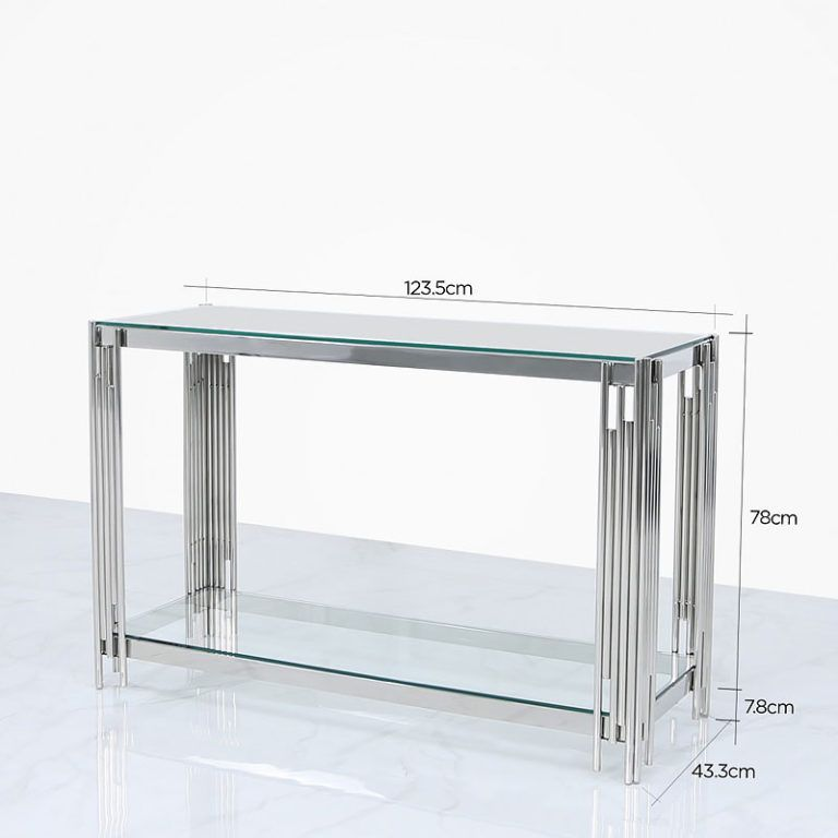 Colton Contemporary Stainless Steel And Glass Dressing Console