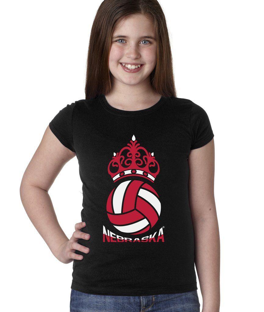 Nebraska Huskers Girls Tee Shirt Nebraska Huskers Volleyball Crown Girls Tees Tee Shirts T Shirts For Women