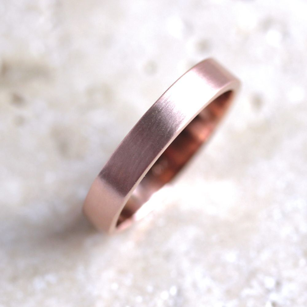 Rose Gold Mens' Wedding Ring, 4mm Flat Recycled 14k Red Gold ...