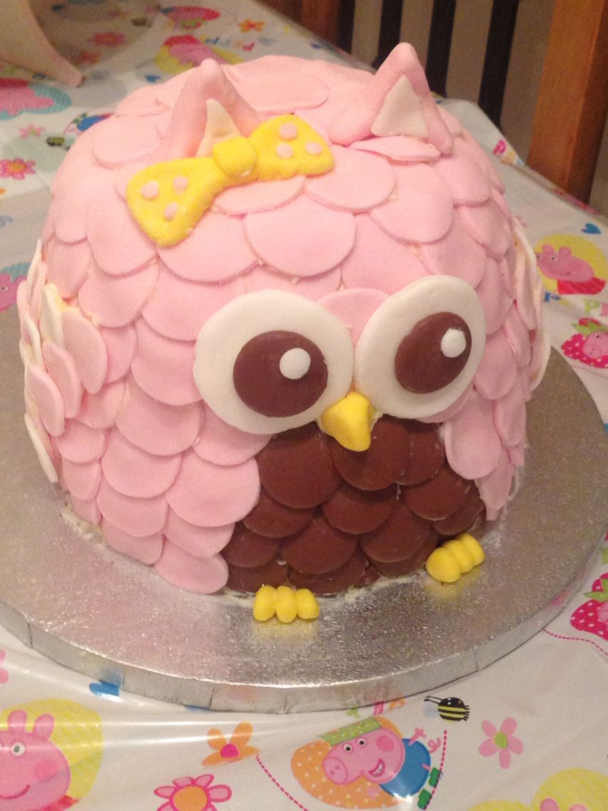 Sensational Really Simple Owl Birthday Cake Made Using Two Sandwich Tins And Birthday Cards Printable Riciscafe Filternl